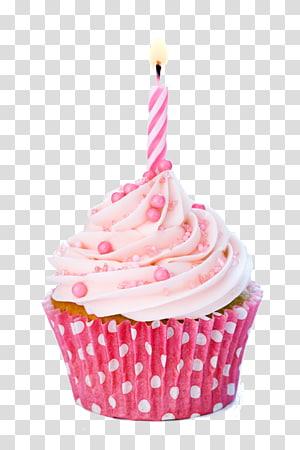 cupcake com vela na ilustração superior, bolo de aniversário Cupcake de confeiteiro, vela de bolo png
