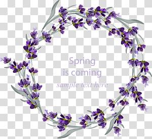 Convite de casamento flor de grinalda de lavanda, flores roxas pintadas à mão, borda de grinalda de flores roxas PNG clipart