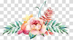Flor Design floral Pintura em aquarela Ilustração, Decoração floral em aquarela, rosa com fundo azul png