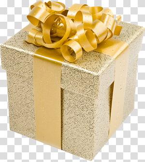 caixa de presente de impressão em filigrana marrom e preta, presente de Natal em ouro, caixa de presente em creme com laço de ouro PNG clipart