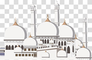 ilustração da mesquita, Kaaba Ramadan Mosque Islam Eid Mubarak, castelo de arte em papel de estilo europeu PNG clipart