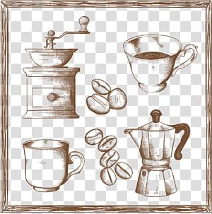 Xícara de café Moinho de café Burr, esboço desenhado à mão relacionados ao café png