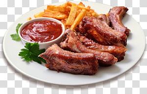 prato de bife e batatas fritas com ilustração de ketchup, churrasqueira batatas fritas Costelas de reposição Molho de churrasco, carne de porco PNG clipart