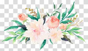ilustração de flores cor de rosa e verde, convite de casamento pintura em aquarela flor design floral, flores em aquarela coloridas png