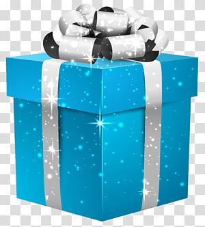 Arquivo de computador da caixa de presente Glenna Farms, caixa de presente azul brilhante com laço de prata, caixa de presente azul png