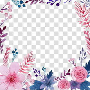 Ilustração de pintura em aquarela de flores, flores em aquarela criativas, flores cor de rosa e azuis PNG clipart
