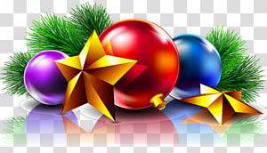 enfeites azuis, roxos e vermelhos, dia de Natal, cartão de Natal, desejo de ano novo, bolas de Natal e estrelas PNG clipart