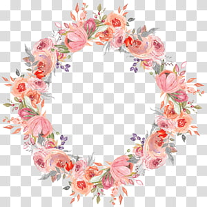 ilustração de grinalda de flor rosa, grinalda de flor grinalda, guirlandas pintadas à mão PNG clipart