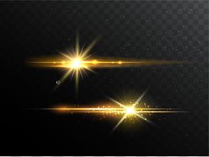 Linha euclidiana de luz, efeito da fonte de luz, duas luzes LED amarelas em fundo preto e cinza png