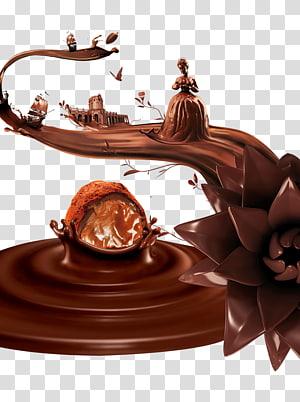ilustração de chocolate, sorvete Calda de chocolate Ganache, chocolate PNG clipart