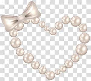 colar de contas branco, coração de pérolas, coração de pérolas com laço PNG clipart