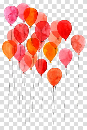 ilustração de balão vermelho e rosa, pintura em aquarela Desenho arte de balão, desenho de balões png