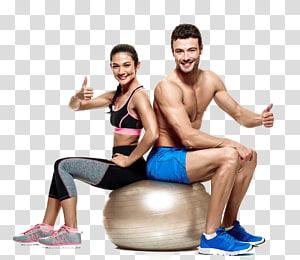 homem e mulher sentada na bola de estabilidade, exercício físico bola de exercício aptidão física Pilates, exercício de ioga png