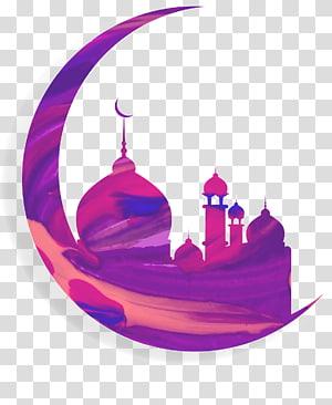 arte da lua crescente, Mesquita do Alcorão Eid al-Fitr Ramadan Islam, meia-lua PNG clipart