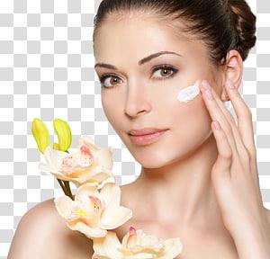 rosto de mulher, loção cosméticos creme para o rosto beleza, maquiagem beleza e flores PNG clipart