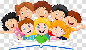 ilustração infantil, livro leitura ilustração, um grupo de crianças PNG clipart