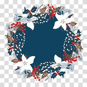 ilustração de grinalda floral branca e vermelha, ilustração de grinalda de Natal, fronteira bonita PNG clipart