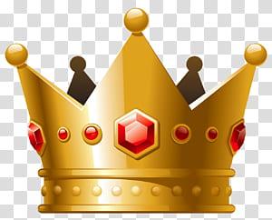 Coroa, coroa de ouro com diamantes vermelhos, ilustração de coroa de ouro PNG clipart