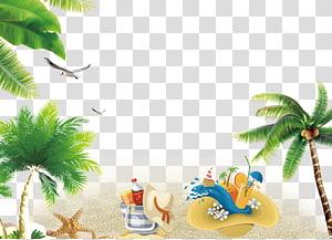 Estância de verão, fundo do recurso de praia do verão, chapéu de sol ao lado da arte finala da sacola png