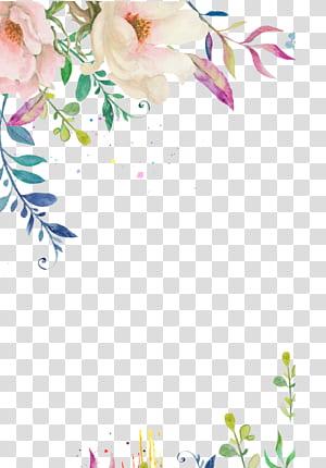 flor de aquarela de flor de convite de casamento, fronteira de flor pintados à mão, ilustração de flores multicoloridas PNG clipart