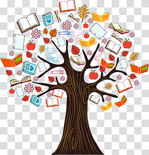 Livro árvore de leitura, cor livro conhecimento ilustração da árvore, ilustração da árvore com livros PNG clipart