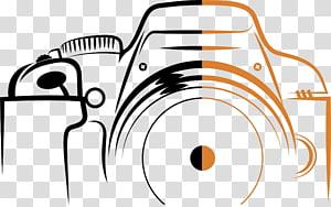 Câmera de logotipo, curso de câmera digital, ilustração de câmera preto e laranja PNG clipart