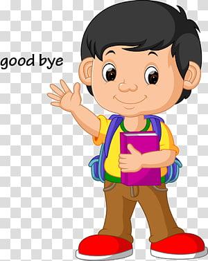 ilustração Escola, crianças acenam adeus, menino ilustração animada PNG clipart